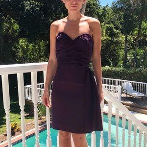 Aidan Mattox Purple Strapless Cocktail Dress